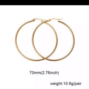 NIB 70mm 14 kt gold plated Hoop Earrings